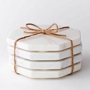 White marble octagonal coasters - West Elm - Set 4